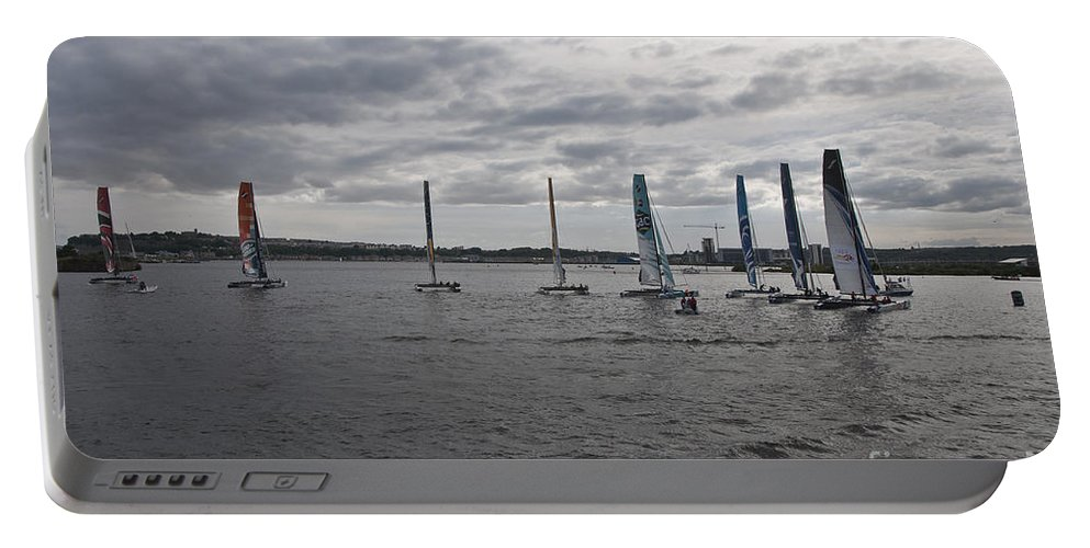 Extreme 40 Catamarans Portable Battery Charger featuring the photograph Extreme 40 At The Start by Steve Purnell