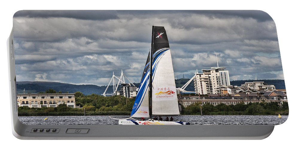 Extreme 40 Catamarans Portable Battery Charger featuring the photograph Extreme 40 Team China Spirit by Steve Purnell