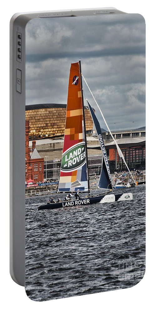 Extreme 40 Catamarans Portable Battery Charger featuring the photograph Extreme 40 Team Wales Landrover by Steve Purnell