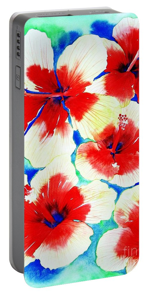 Nature Portable Battery Charger featuring the painting Exuberance by Frances Ku