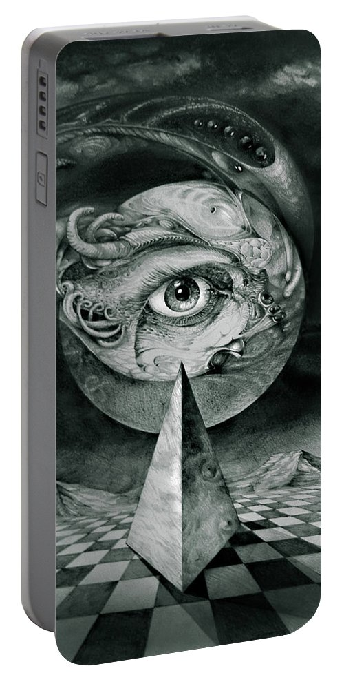 otto Rapp Surrealism Portable Battery Charger featuring the drawing Eye Of The Dark Star by Otto Rapp