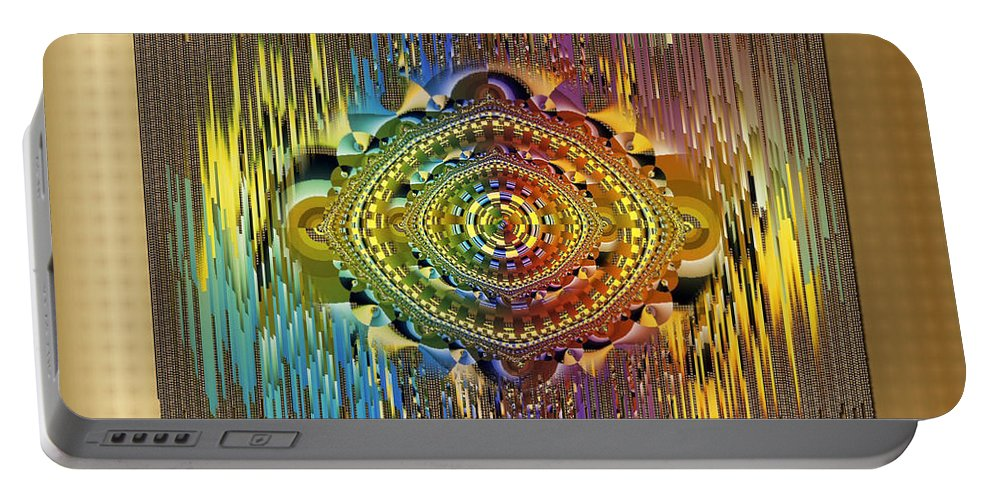 Rainbow Colors Portable Battery Charger featuring the digital art Eye Of The Rainbow by Mario Carini