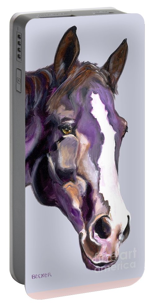 Thoroughbred Portable Battery Charger featuring the painting Eye On The Prize by Susan A Becker
