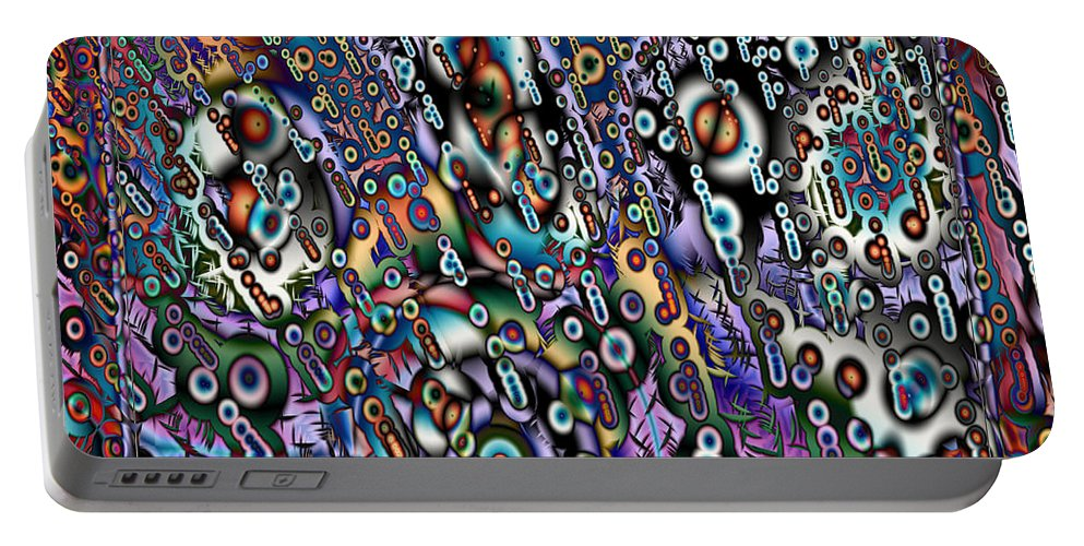 Abstract Portable Battery Charger featuring the digital art Eyeballs And Eight Balls by Kiki Art