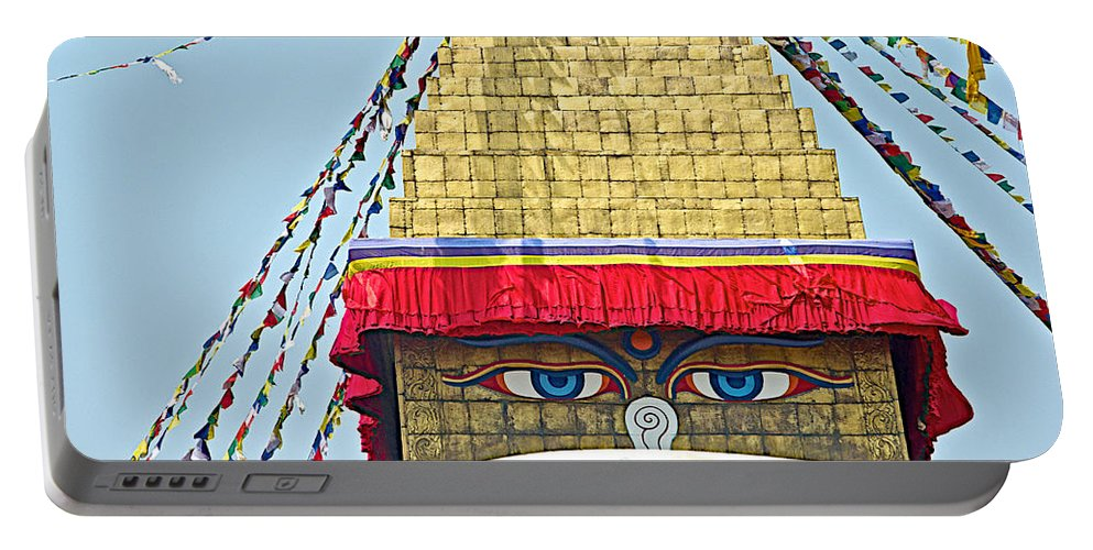 Eyes Of Buudha Boudhanath Stupa In Kathmandu In Nepal Portable Battery Charger featuring the photograph Eyes Of Buudha Boudhanath Stupa In Kathmandu-nepal by Ruth Hager