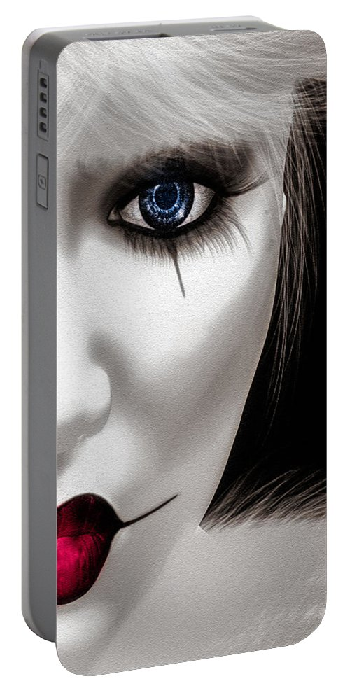 Harlequin Portable Battery Charger featuring the painting Eyes Of The Fool by Bob Orsillo