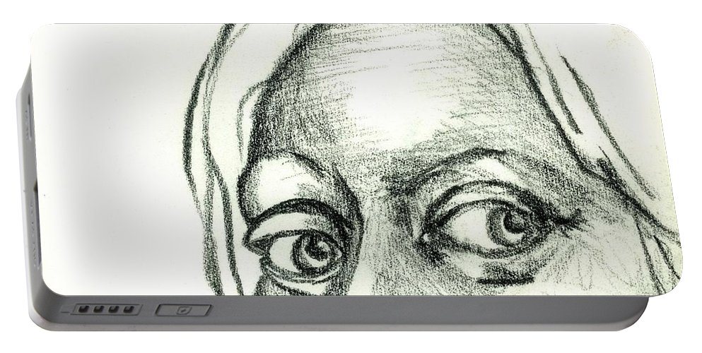 Drawing Portable Battery Charger featuring the drawing Eyes - The Sketchbook Series by Michelle Calkins