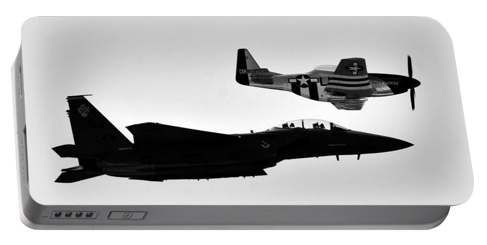 Jet Portable Battery Charger featuring the photograph F 15 And P 51 by David Lee Thompson