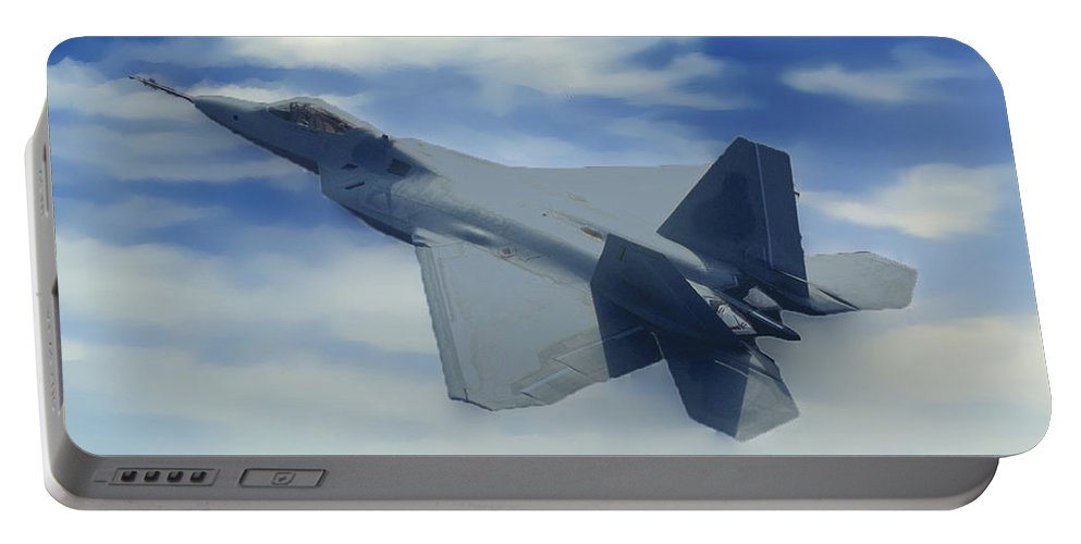 Grandcanyonpics Portable Battery Charger featuring the photograph F22 Raptor Climbing In The Clouds by Bob and Nadine Johnston