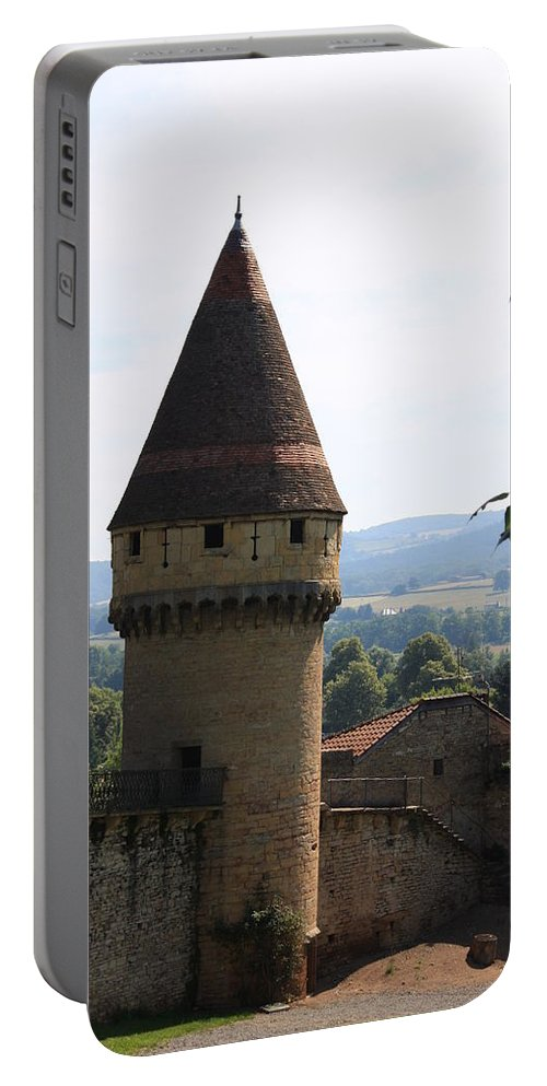 Watch Tower Portable Battery Charger featuring the photograph Fabry Tower - Cluny - Burgundy by Christiane Schulze Art And Photography