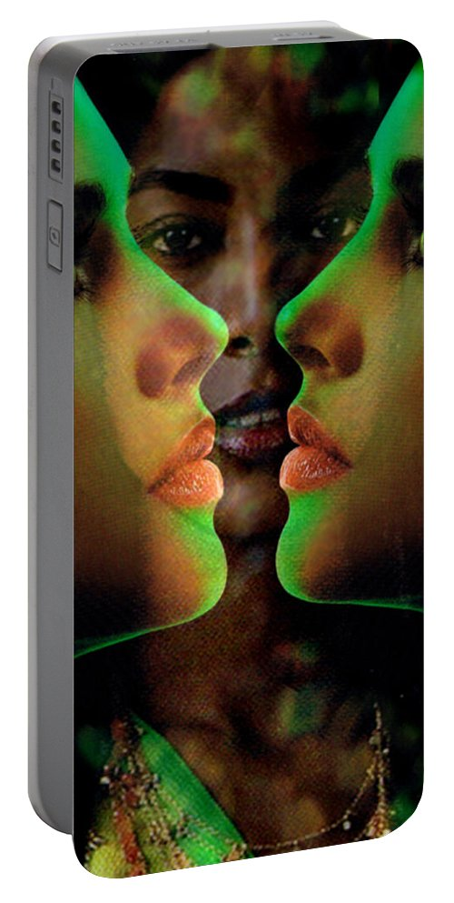 Women Portable Battery Charger featuring the digital art Face 2 Face by Seth Weaver