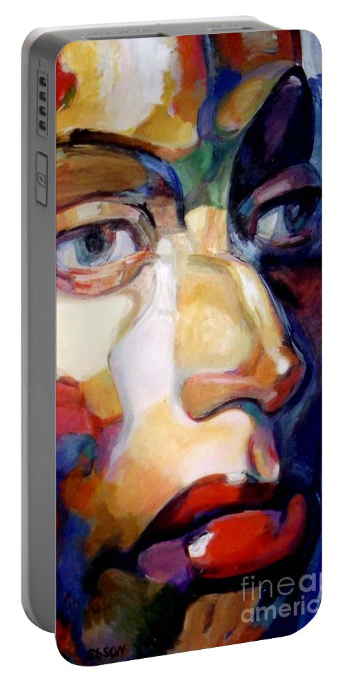 Woman Portable Battery Charger featuring the painting Face Of A Woman by Stan Esson