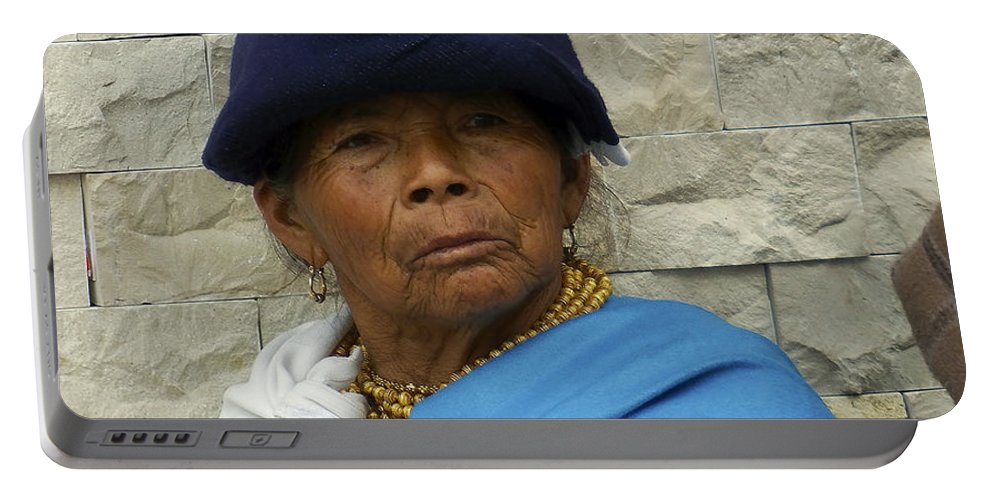 Woman Portable Battery Charger featuring the photograph Face Of Ecuador Woman At Cotacachi by Kurt Van Wagner