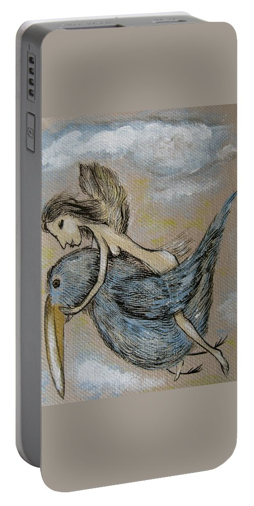 Surreal Portable Battery Charger featuring the painting Faery And The Stork - Prints by Sue Wright