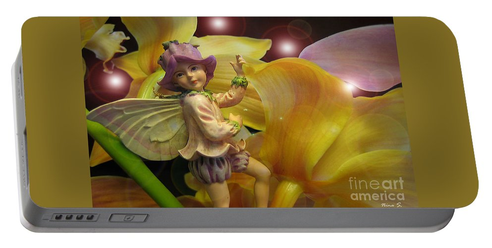 Fairy Portable Battery Charger featuring the photograph Fairies In A Night Garden by Nina Silver