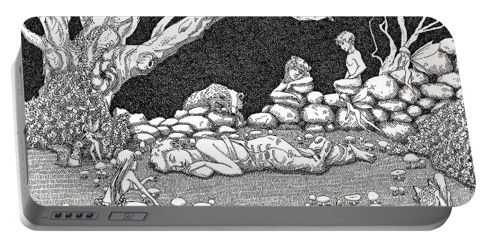 Fairy Circle Fairies Sleep Pen Ink Fantasy Portable Battery Charger featuring the drawing Fairy Circle by Margaret Schons