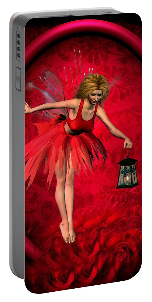 Fairy Paintings Portable Battery Charger featuring the digital art Fairy by John Junek