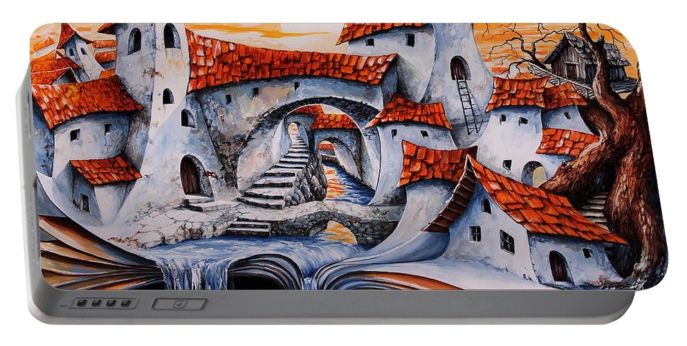 Tale City Portable Battery Charger featuring the painting Fairy Tale City - Magic Stream by Emerico Imre Toth