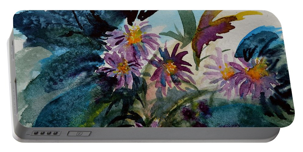 Aster Portable Battery Charger featuring the painting Fairyland Asters by Beverley Harper Tinsley
