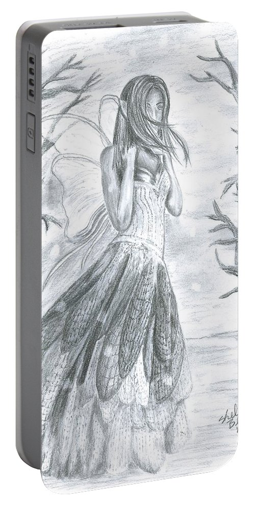 Snow Portable Battery Charger featuring the drawing Fairytale Winter by Shelley Blair