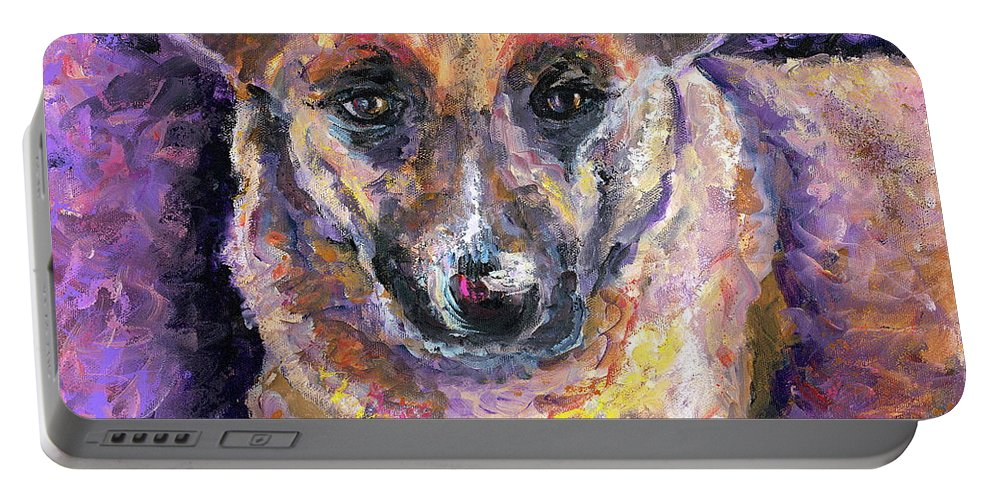 Dog Portable Battery Charger featuring the painting Faithful Friend by Nadine Rippelmeyer