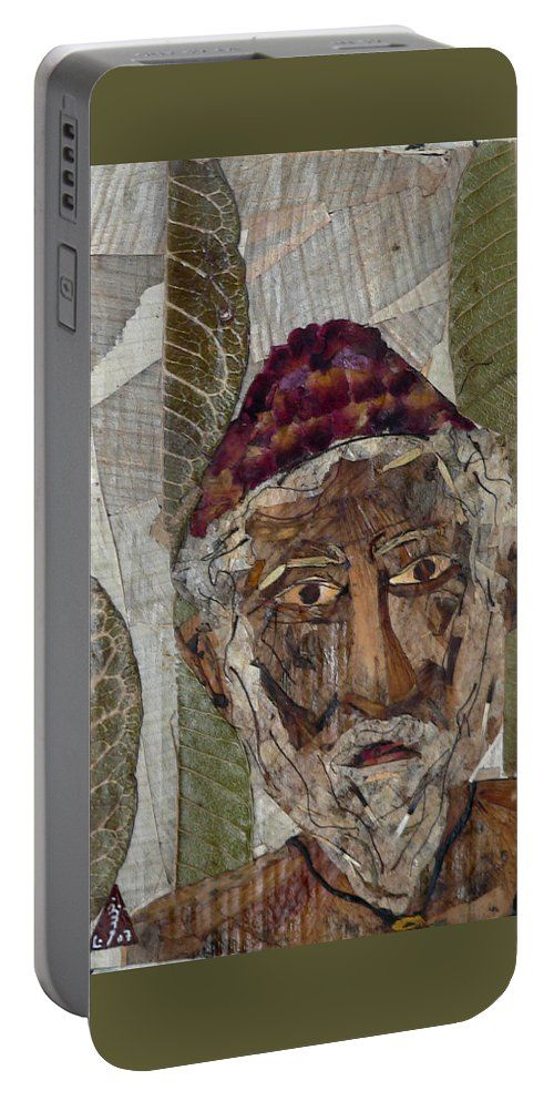 Portrait.holy Person Portrait Portable Battery Charger featuring the mixed media Fakeer by basant Soni