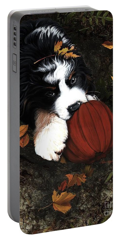 Bernese Mountain Dog Portable Battery Charger featuring the painting Fall 4 U by Liane Weyers