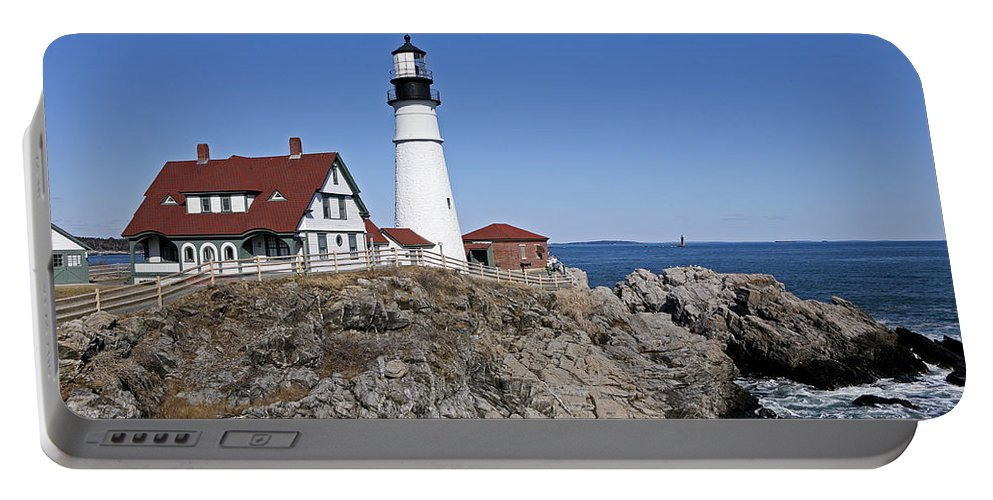 Portland Head Light Portable Battery Charger featuring the photograph Fall At The Lighthouse by Eric Swan