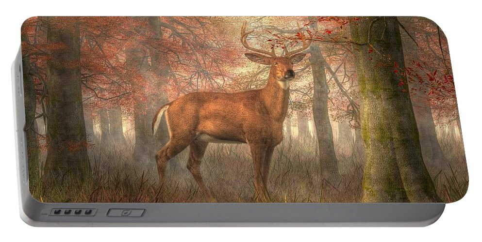 Fall Buck Portable Battery Charger featuring the digital art Fall Buck by Daniel Eskridge