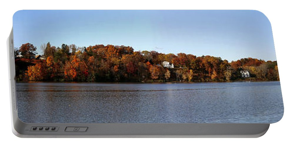 Panorama Portable Battery Charger featuring the photograph Fall By The River by Eric Swan