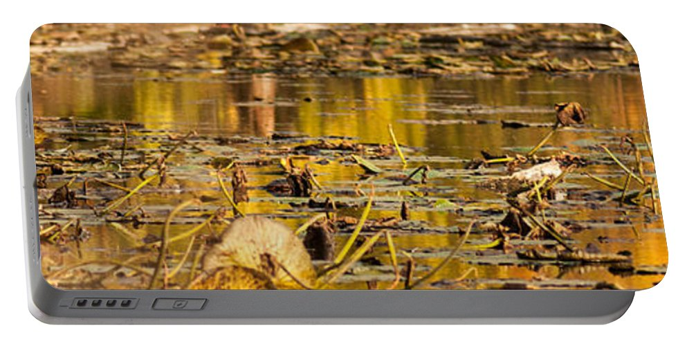 Optical Playground By Mp Ray Portable Battery Charger featuring the photograph Fall Colored Pond by Optical Playground By MP Ray
