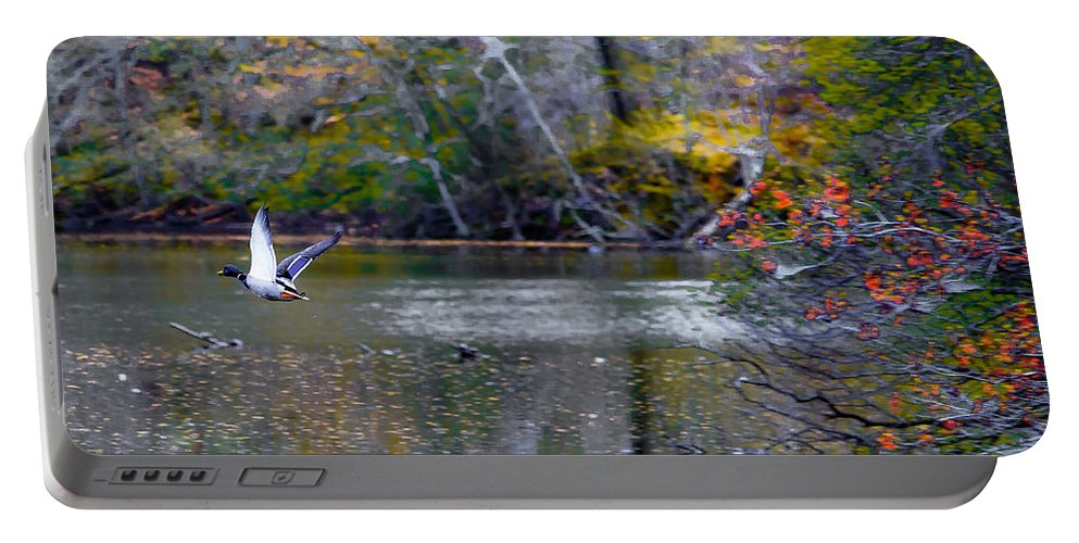 Mallard Portable Battery Charger featuring the photograph Fall Flight by Scott Hervieux