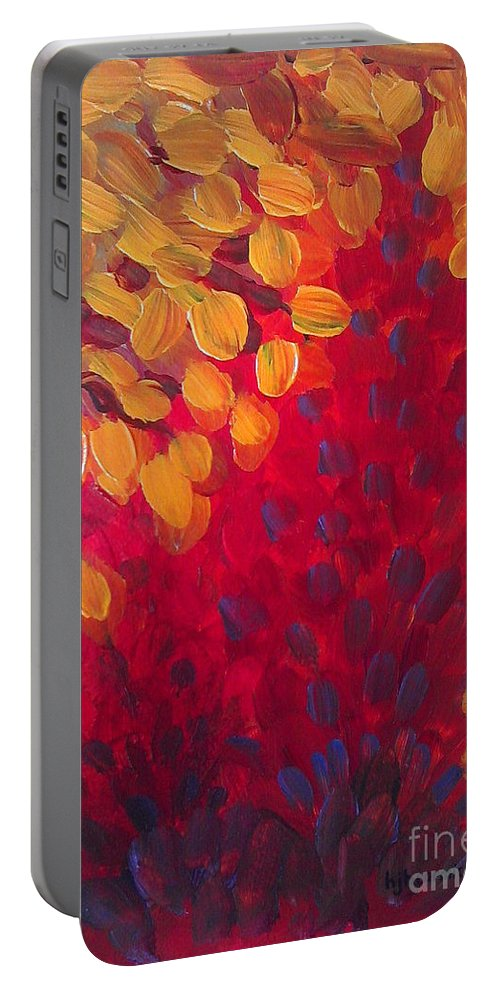Abstract Portable Battery Charger featuring the painting Fall Flurry by Holly Carmichael