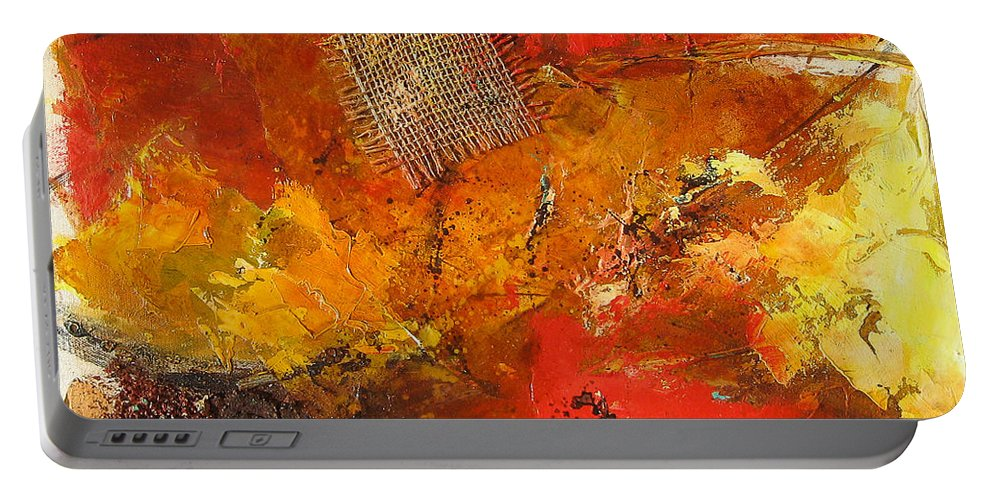 Abstract Portable Battery Charger featuring the painting Fall Foliage by Elise Palmigiani