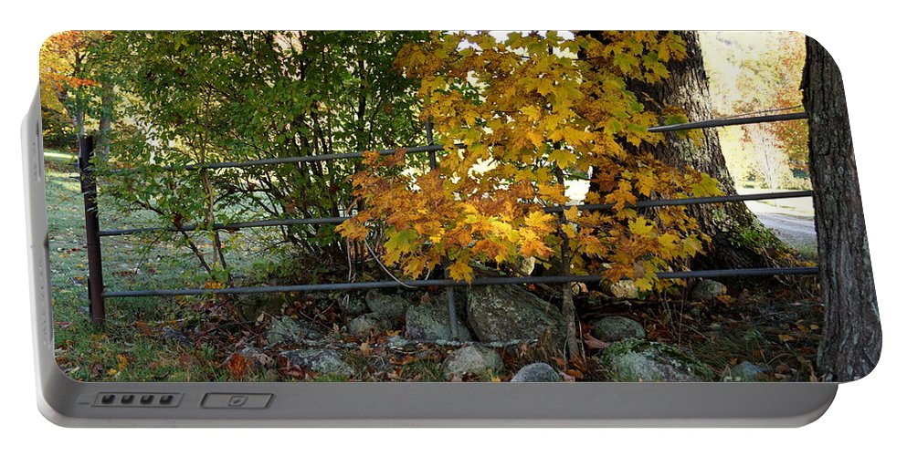 Newhampshire Portable Battery Charger featuring the photograph Fall Gate by Kerri Mortenson
