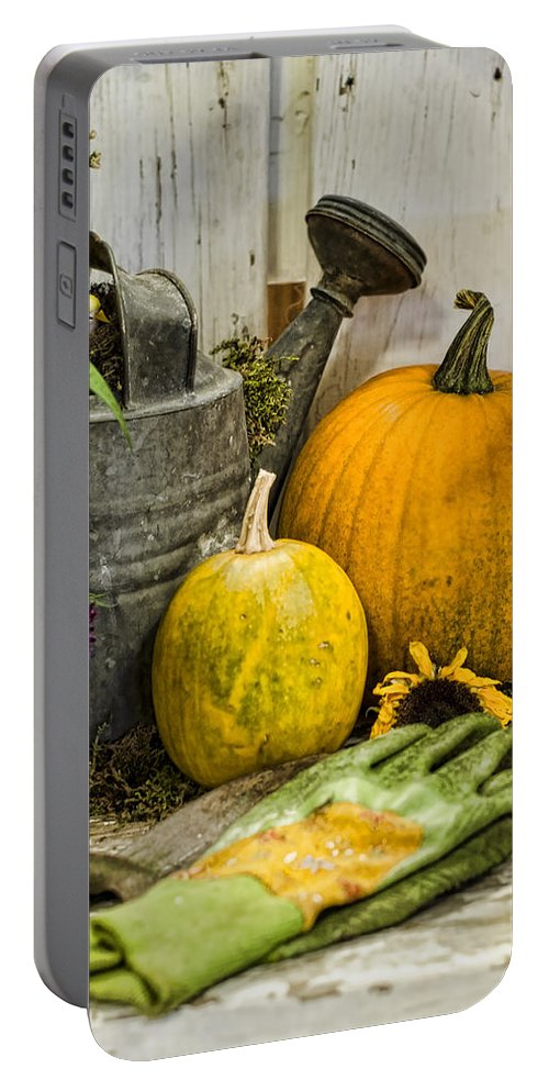 Pumpkin Portable Battery Charger featuring the photograph Fall Harvest by Heather Applegate
