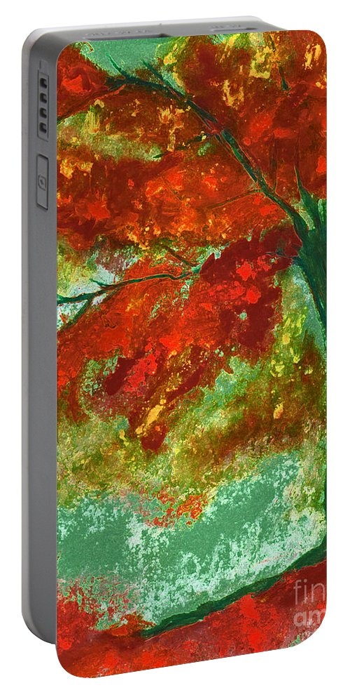 Four Seasons Portable Battery Charger featuring the painting Fall Impression By Jrr by First Star Art