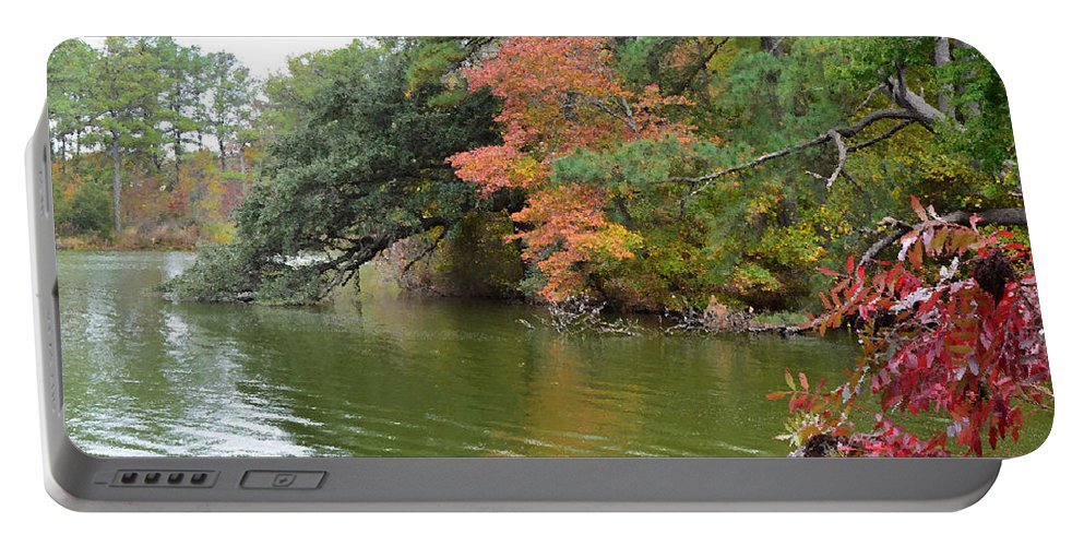 Air Portable Battery Charger featuring the painting Fall Landscape Around The Lake 2 by Jeelan Clark