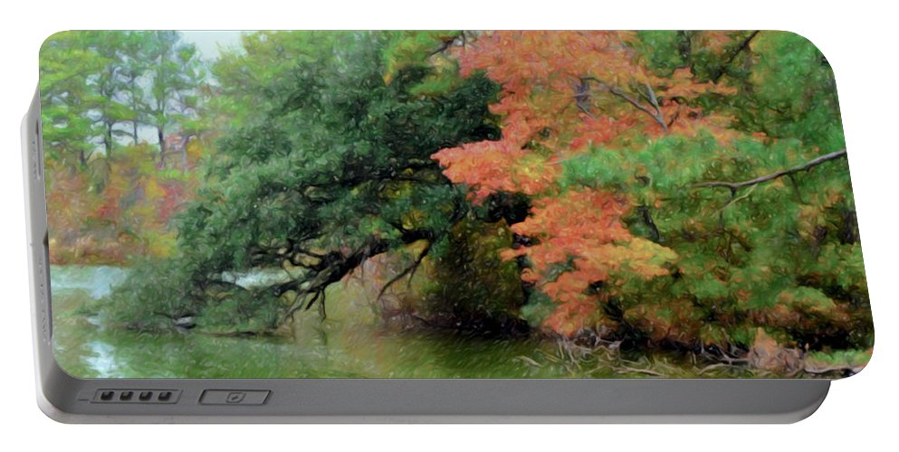 Air Portable Battery Charger featuring the painting Fall Landscape Around The Lake 5 by Jeelan Clark