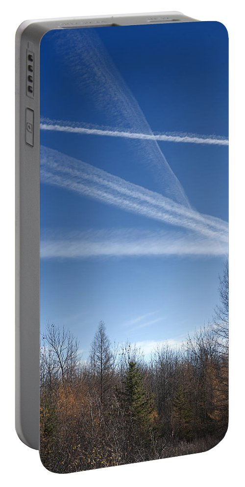 Landscape Portable Battery Charger featuring the photograph Fall Landscape With Jet Vapor Trails by Donald Erickson