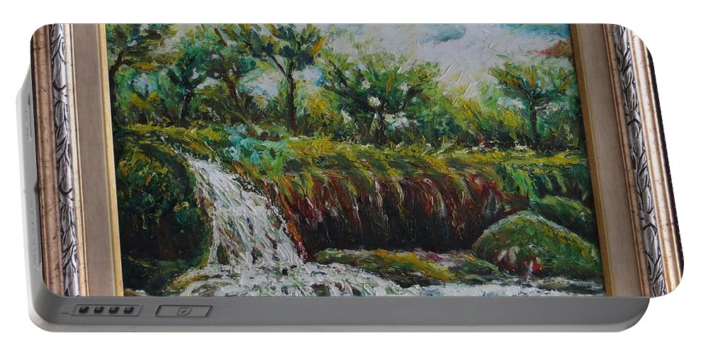 Fall Portable Battery Charger featuring the painting Fall Of Duden by Kazim C