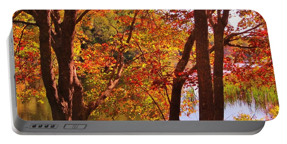 Autunm Landscape Portable Battery Charger featuring the photograph Fall River Nova Scotia by John Malone