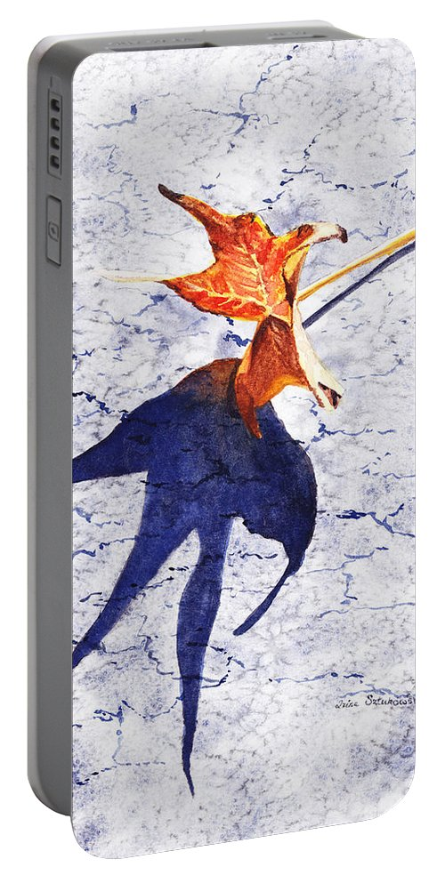 Fall Portable Battery Charger featuring the painting Fallen Leaf King Size Shadow by Irina Sztukowski