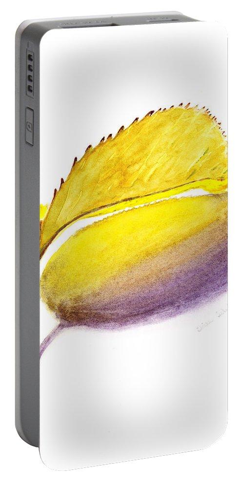 Autumn Portable Battery Charger featuring the painting Fallen Leaf Yellow Shadows by Irina Sztukowski