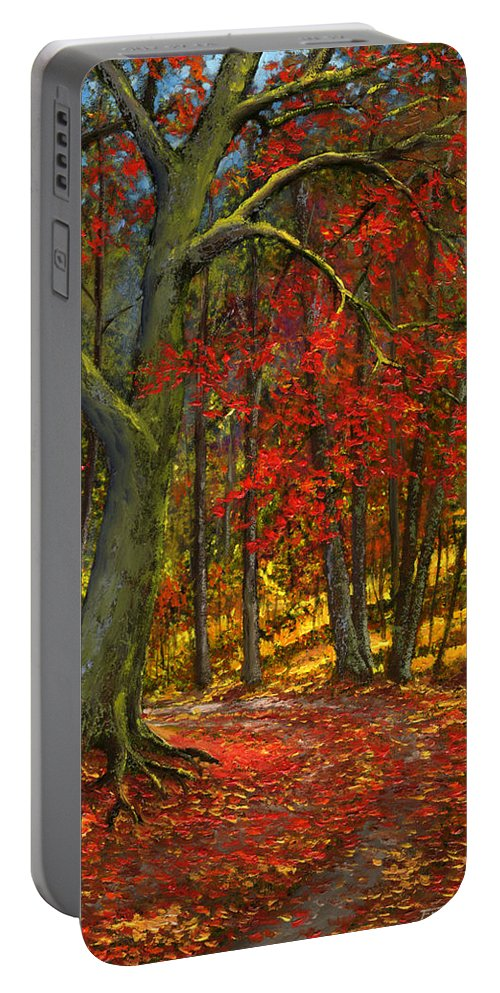 Landscape Portable Battery Charger featuring the painting Fallen Leaves by Frank Wilson