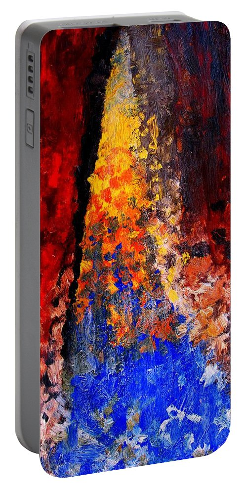 Abstract Portable Battery Charger featuring the painting Falling by Ian MacDonald