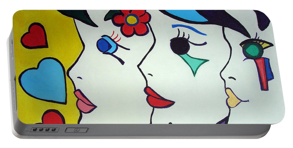 Pop-art Portable Battery Charger featuring the painting Falling In Love by Silvana Abel