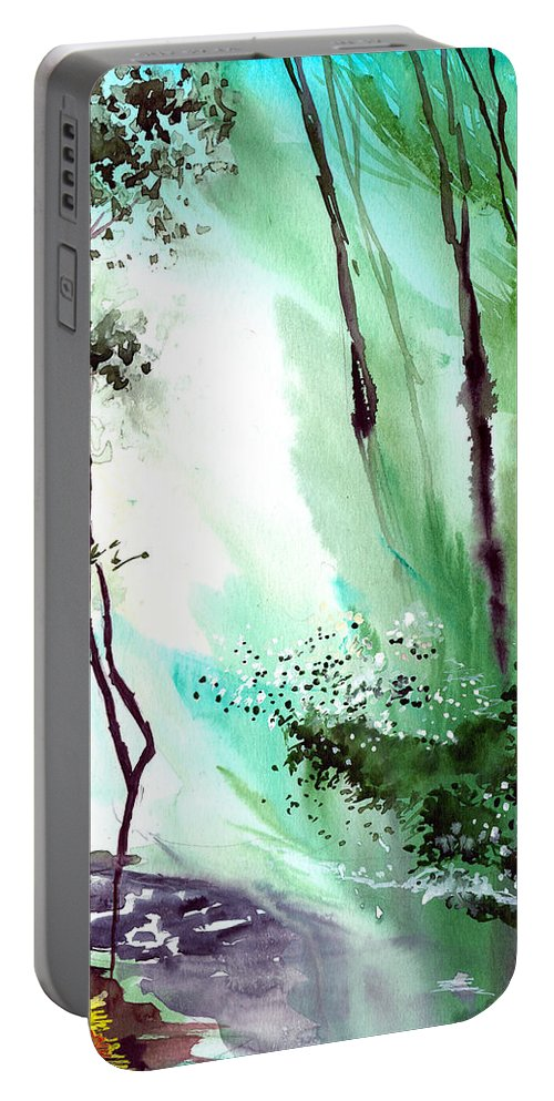 Nature Portable Battery Charger featuring the painting Falling Light by Anil Nene