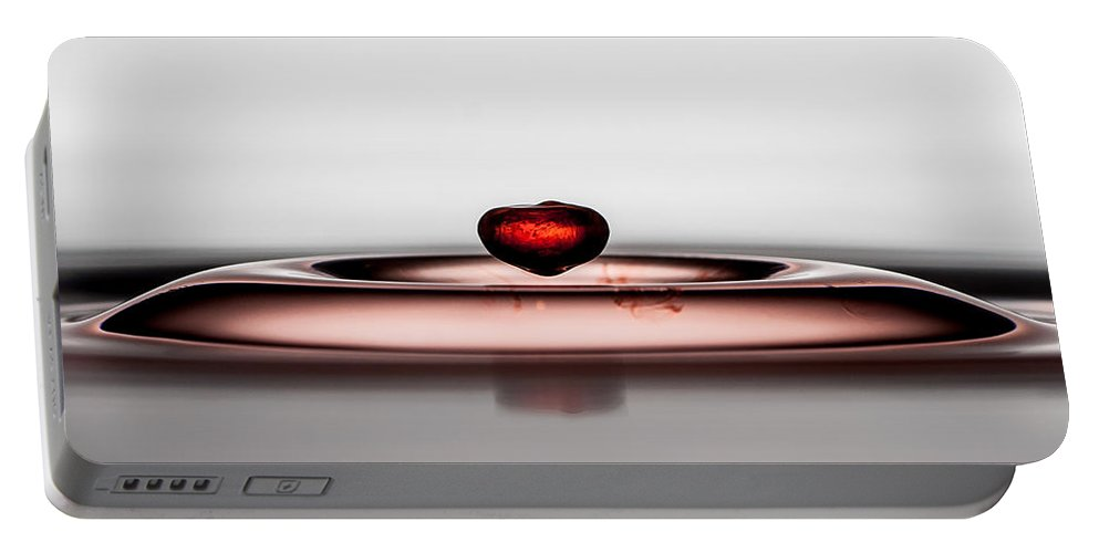 Water Portable Battery Charger featuring the photograph Falling Red Little Droplet by Patrik Lovrin