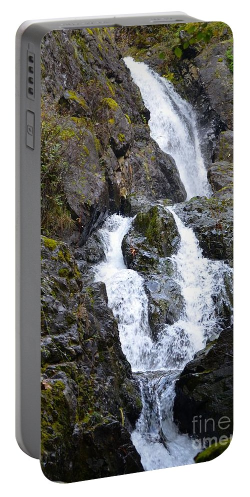 Waterfall Portable Battery Charger featuring the photograph Falling by Stephanie Bland